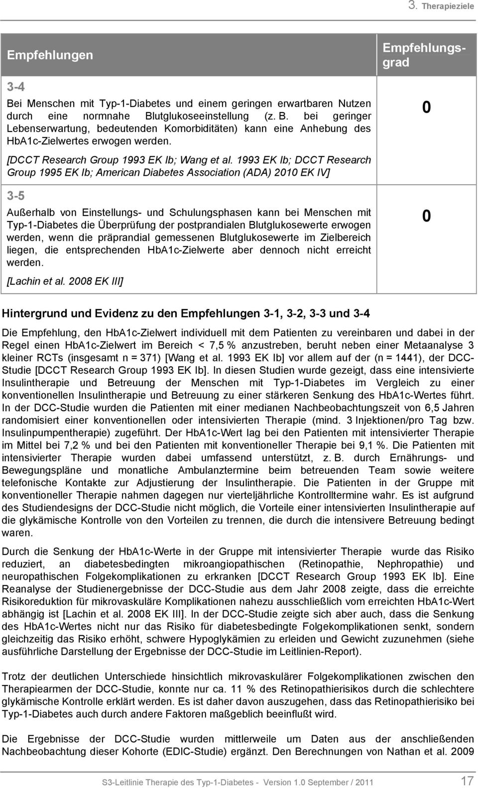 1993 EK Ib; DCCT Research Group 1995 EK Ib; American Diabetes Association (ADA) 2010 EK IV] 3-5 Außerhalb von Einstellungs- und Schulungsphasen kann bei Menschen mit Typ-1-Diabetes die Überprüfung