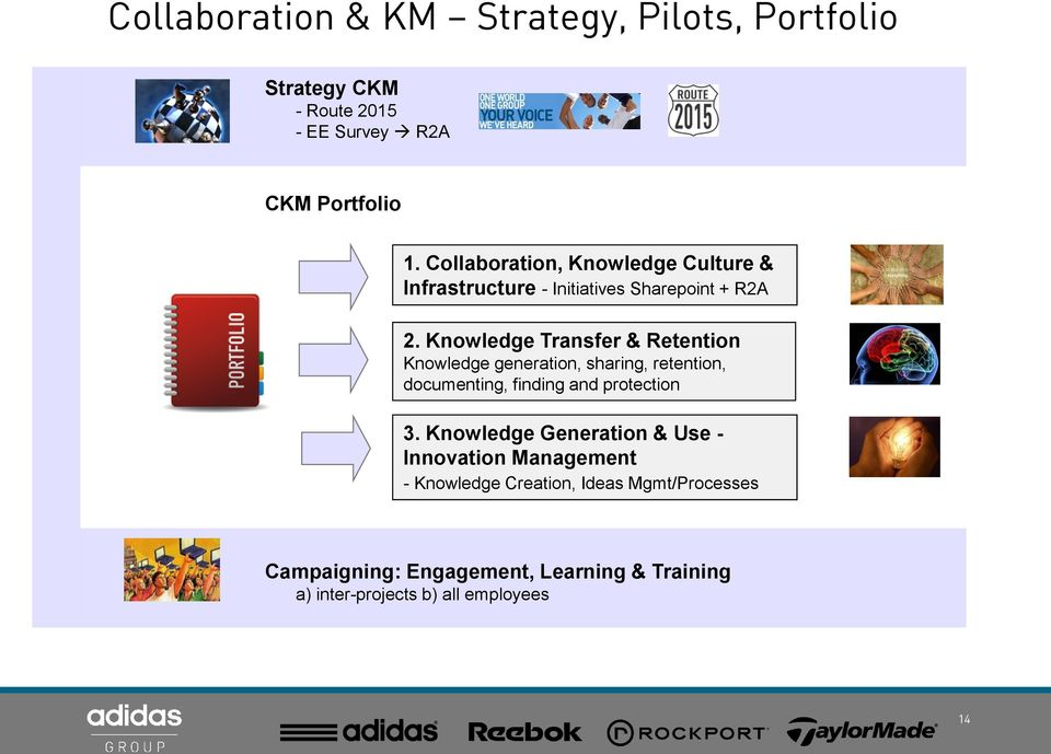 Knowledge Transfer & Retention Knowledge generation, sharing, retention, documenting, finding and protection 3.