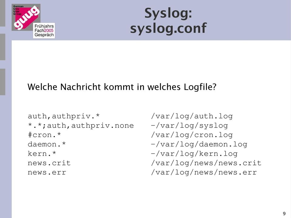 crit news.err /var/log/auth.log -/var/log/syslog /var/log/cron.