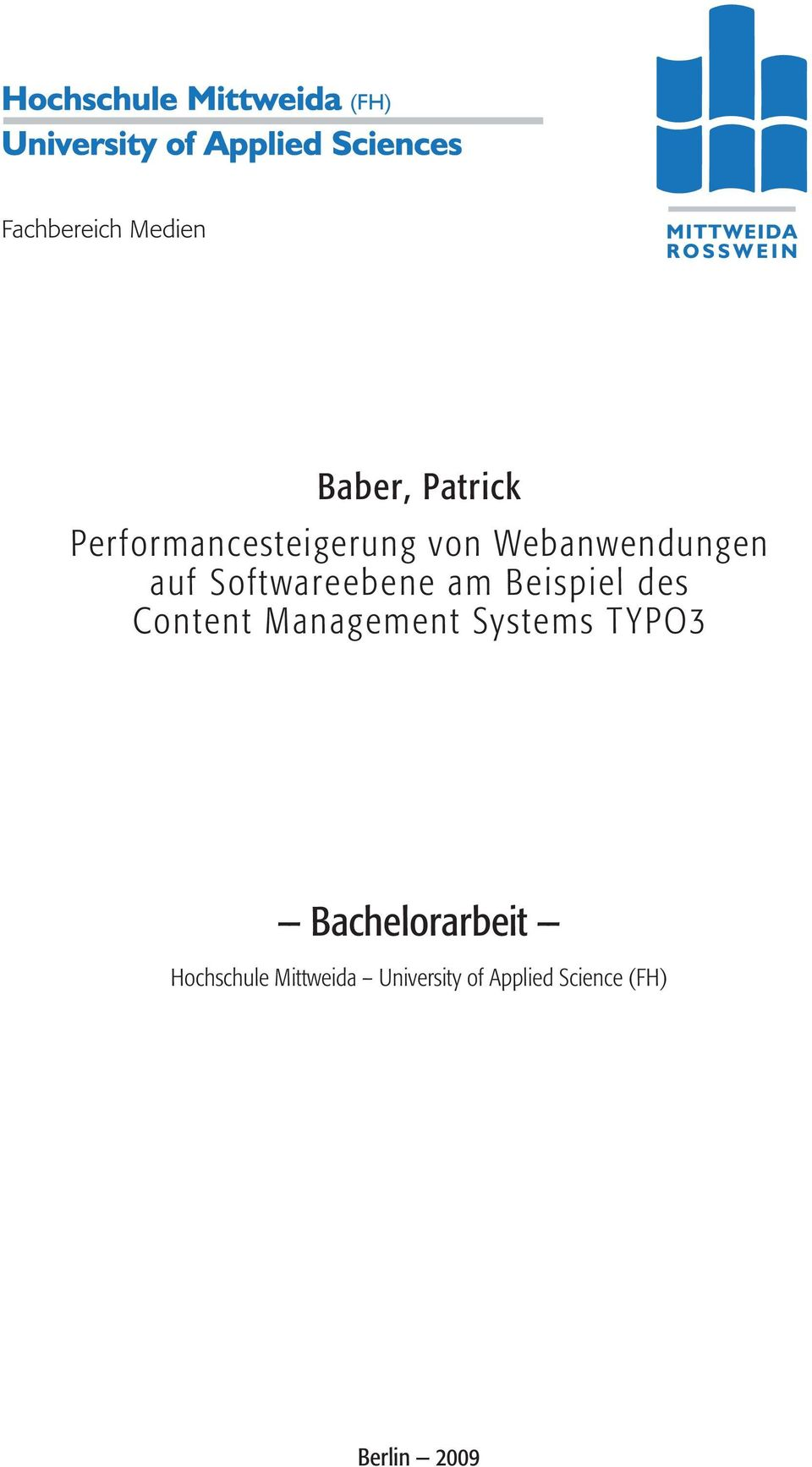 Content Management Systems T YPO3 Bachelorarbeit