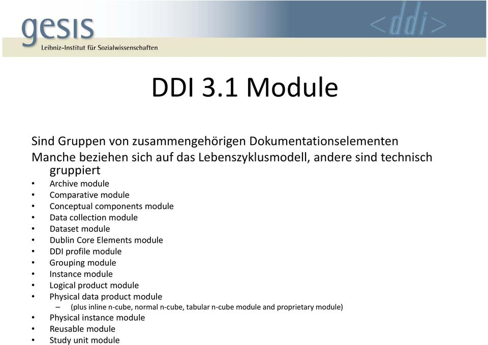 technisch gruppiert Archive module Comparative module Conceptual components module Data collection module Dataset module Dublin
