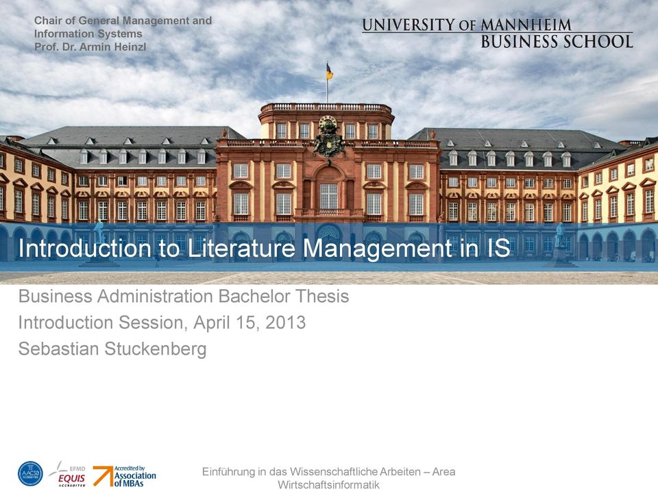 Armin Heinzl Introduction to Literature Management in
