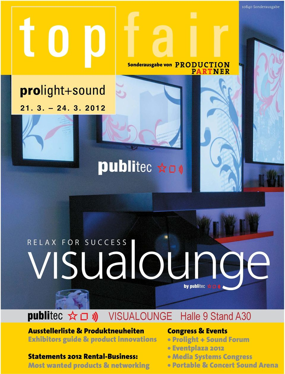 2012 VISUALOUNGE Ausstellerliste & Produktneuheiten Exhibitors guide & product