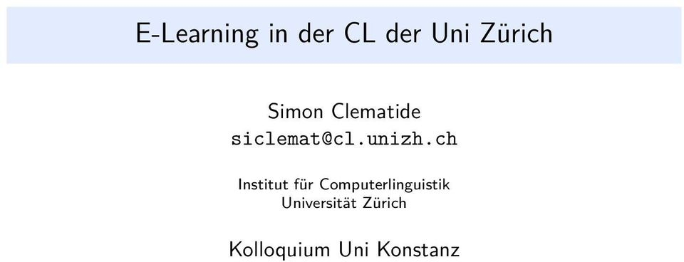 ch Institut für Computerlinguistik