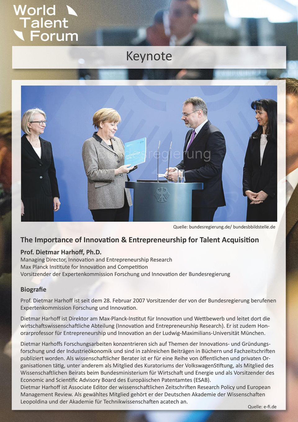 Managing Director, Innovation and Entrepreneurship Research Max Planck Institute for Innovation and Competition Vorsitzender der Expertenkommission Forschung und Innovation der Bundesregierung