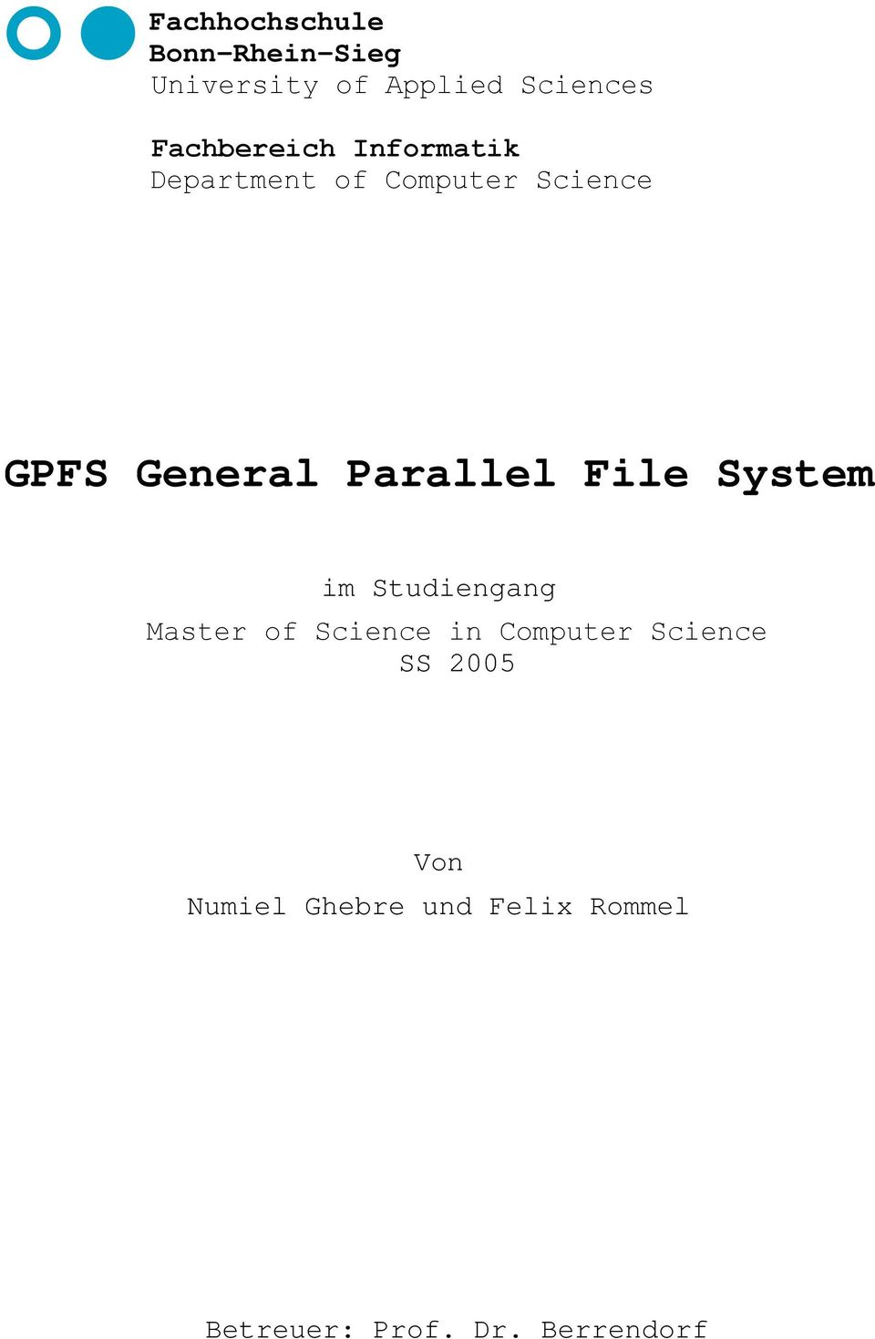 Parallel File System im Studiengang Master of Science in Computer