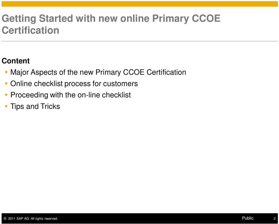 Primary CCOE Certification Online checklist process