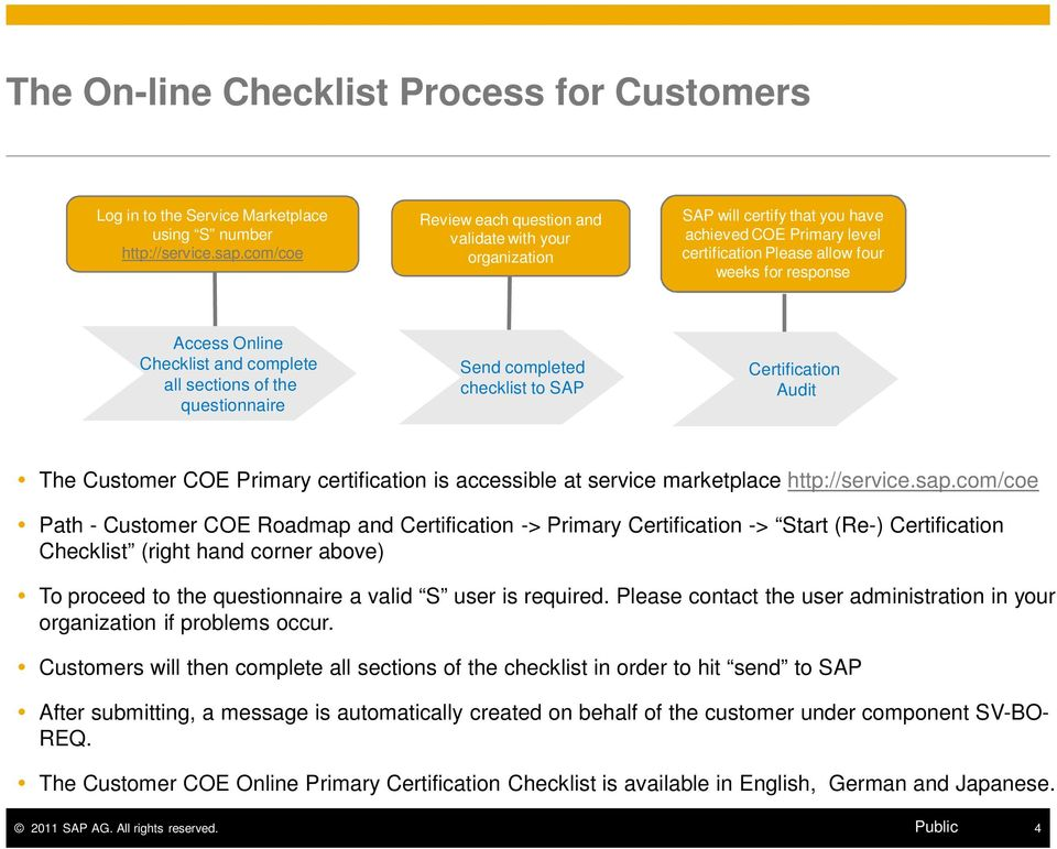 and complete all sections of the questionnaire Send completed checklist to SAP Certification Audit The Customer COE Primary certification is accessible at service marketplace http://service.sap.