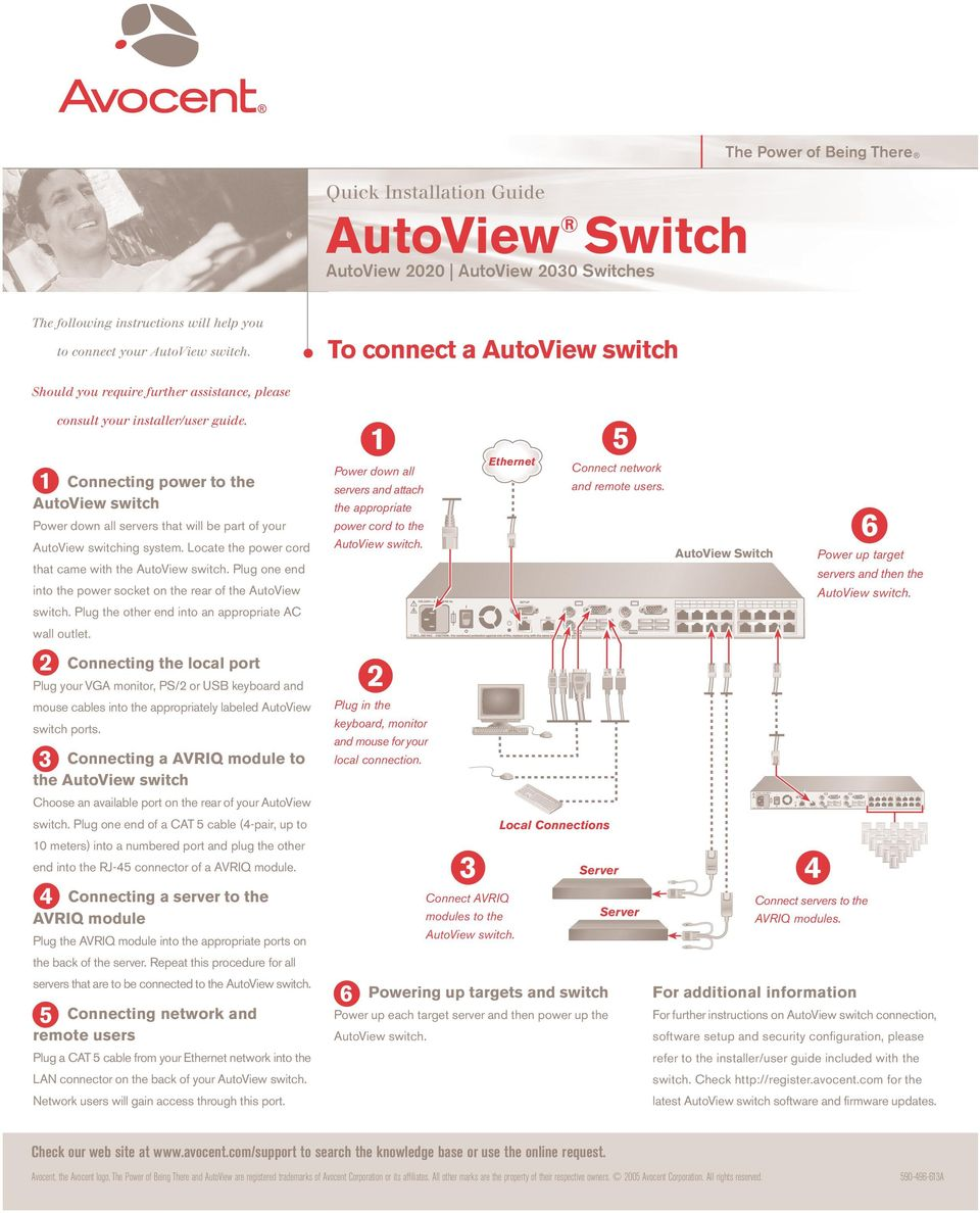 Locate the power cord that came with the Plug one end into the power socket on the rear of the AutoView switch. Plug the other end into an appropriate AC wall outlet.