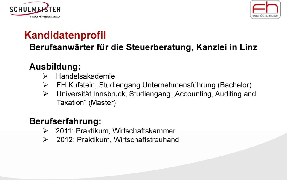 (Bachelor) Universität Innsbruck, Studiengang Accounting, Auditing and Taxation