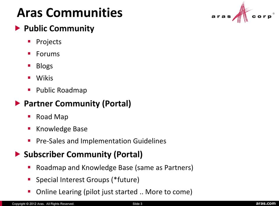 Implementation Guidelines Subscriber Community (Portal) Roadmap and Knowledge Base