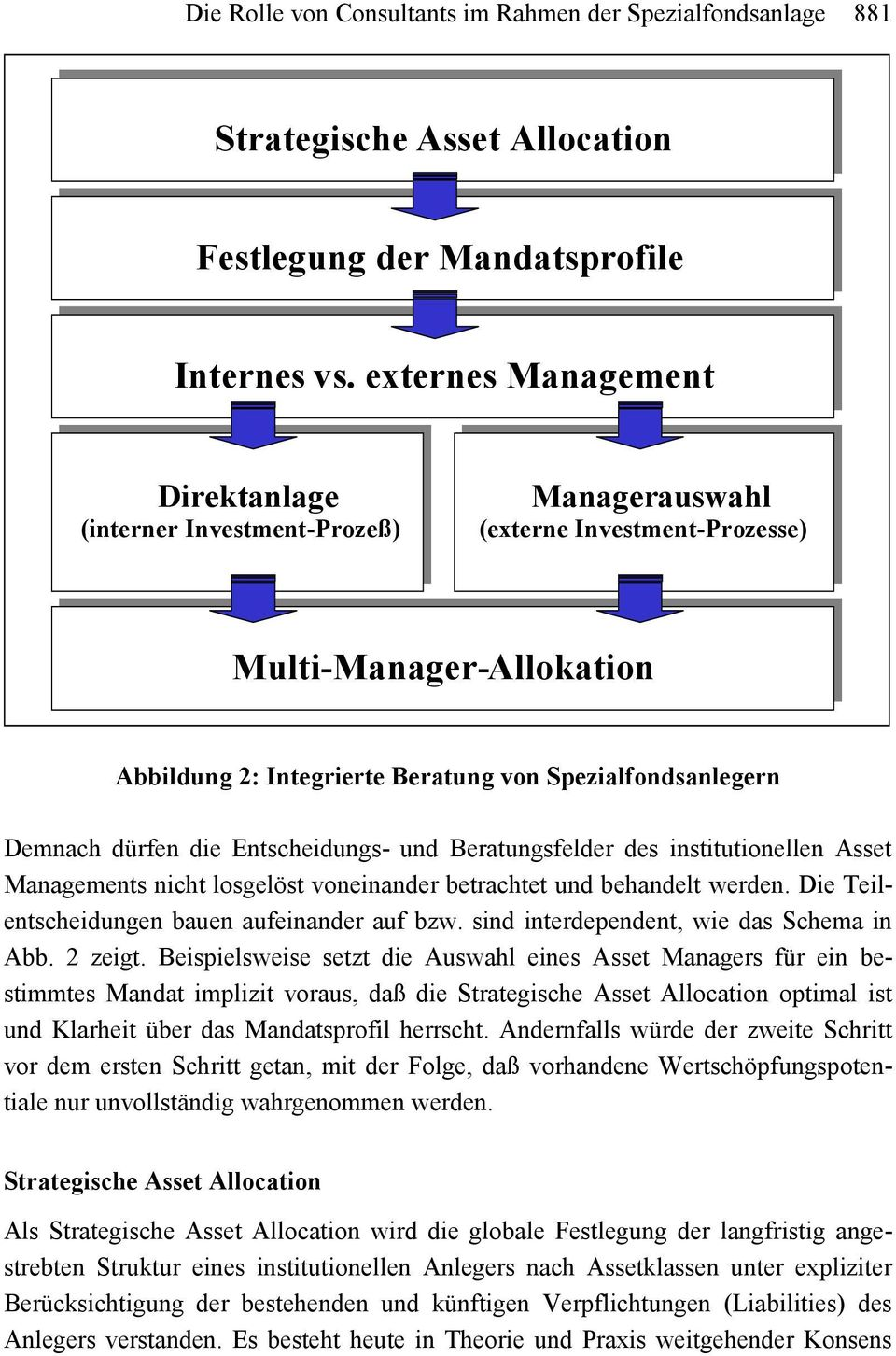 externes Management Direktanlage (interner Investment-Prozeß) Managerauswahl (externe Investment-Prozesse) Multi-Manager-Allokation Abbildung 2: Integrierte Beratung von Spezialfondsanlegern Demnach