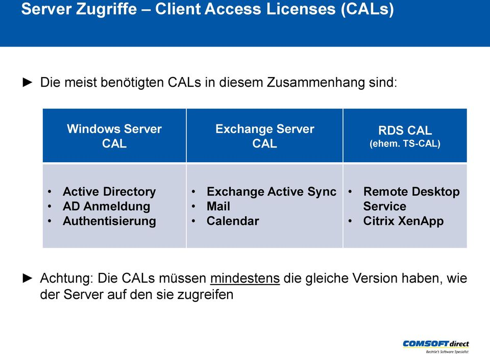TS-CAL) Active Directory AD Anmeldung Authentisierung Exchange Active Sync Mail Calendar