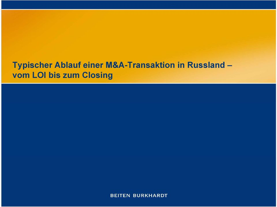 M&A-Transaktion in