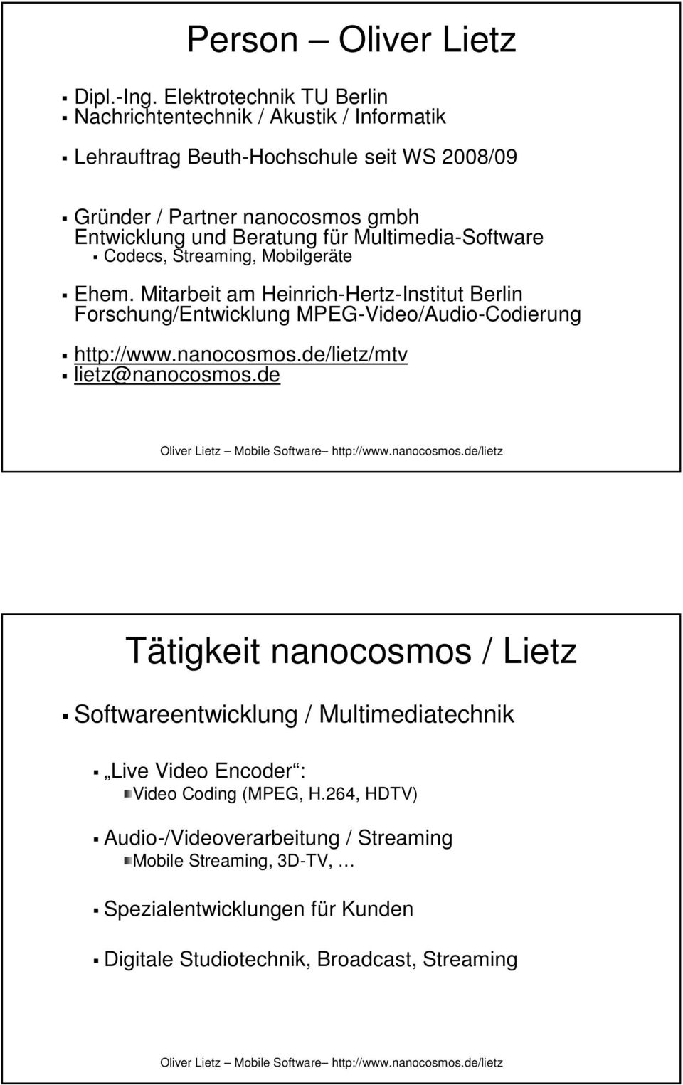 f r Multimedia-Software Codecs, Streaming,, Mobilgeräte Ehem.