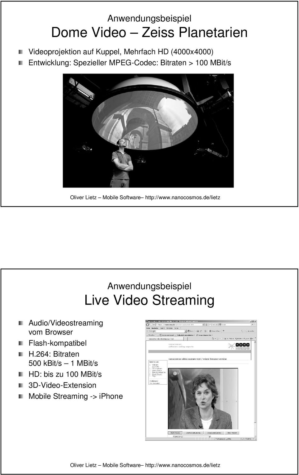 Audio/Videostreaming vom Browser Flash-kompatibel H.