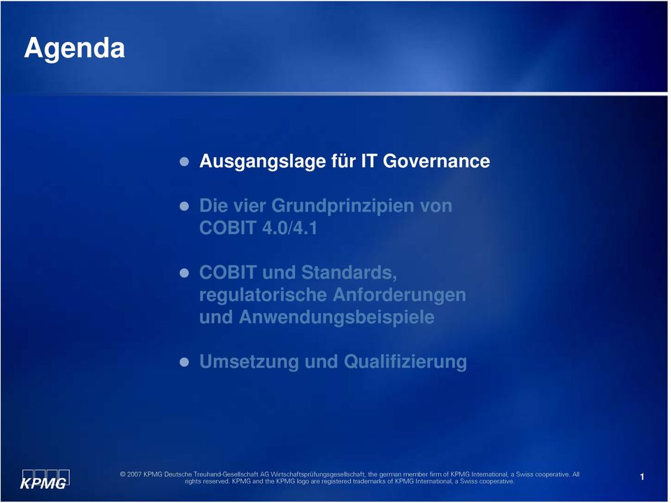 1 COBIT und Standards, regulatorische