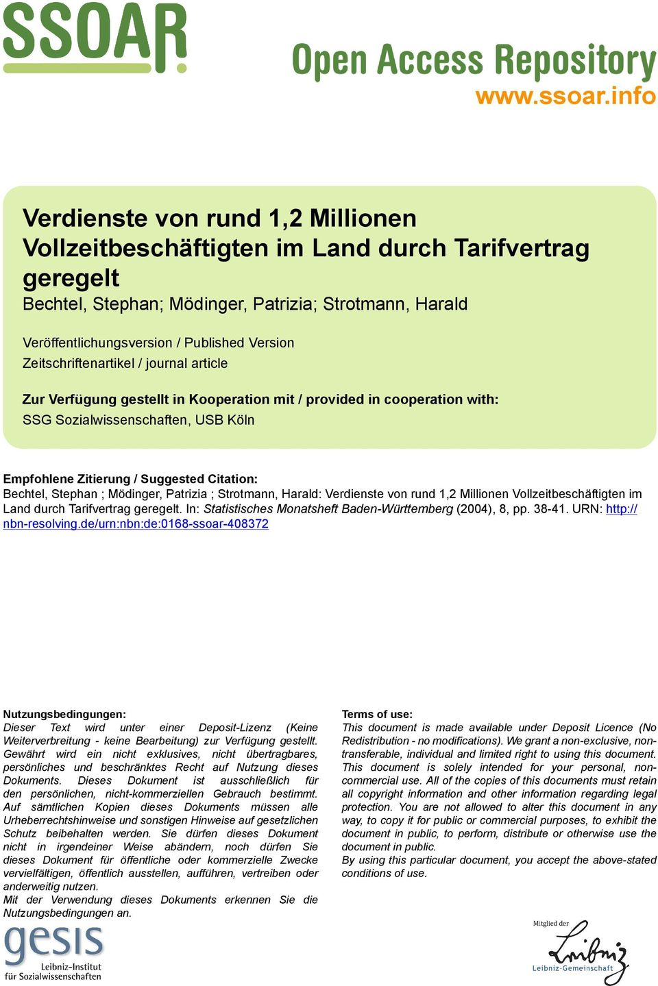 Zeitschriftenartikel / journal article Zur Verfügung gestellt in Kooperation mit / provided in cooperation with: SSG Sozialwissenschaften, USB Köln Empfohlene Zitierung / Suggested Citation: Bechtel,