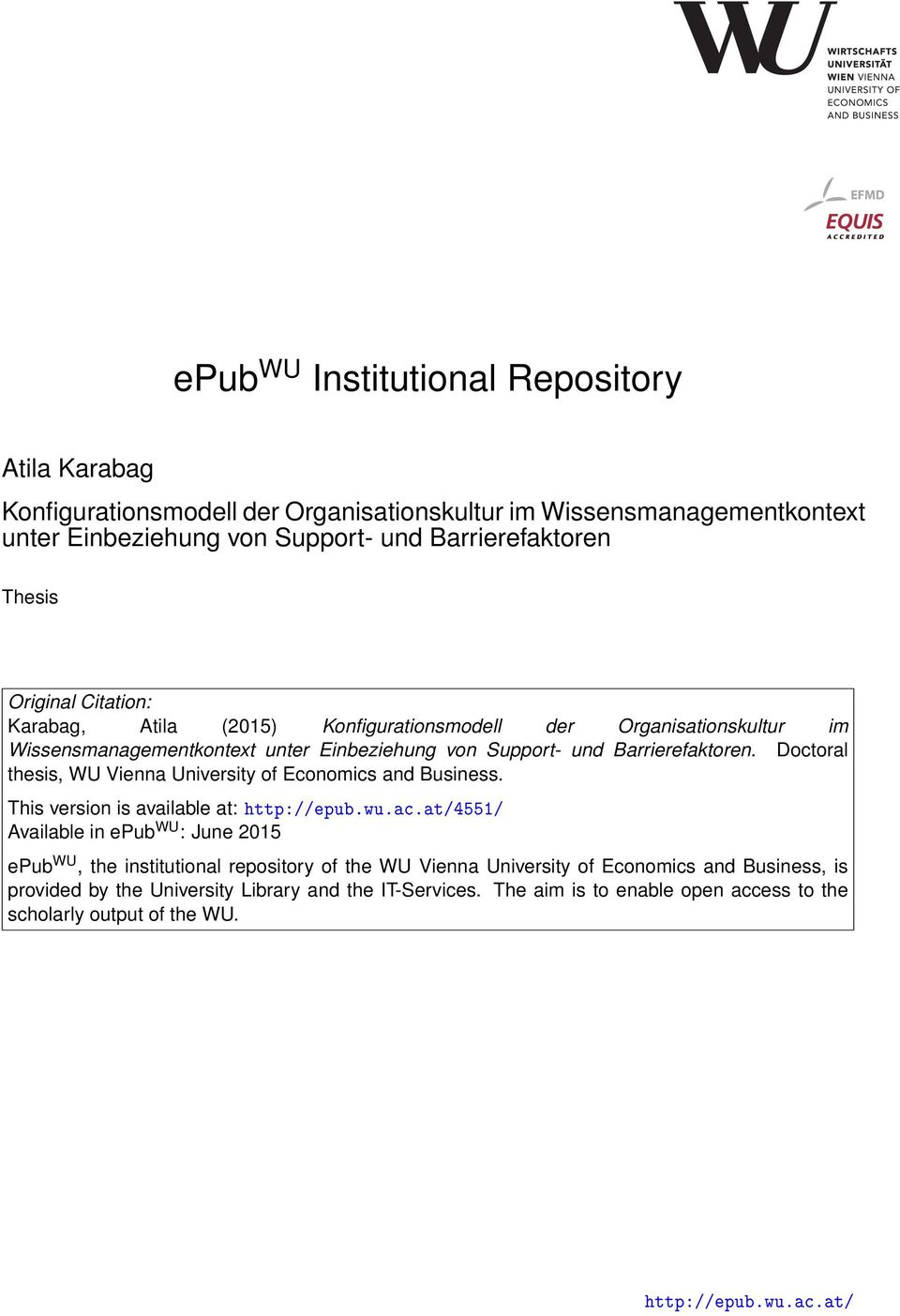 Doctoral thesis, WU Vienna University of Economics and Business. This version is available at: http://epub.wu.ac.