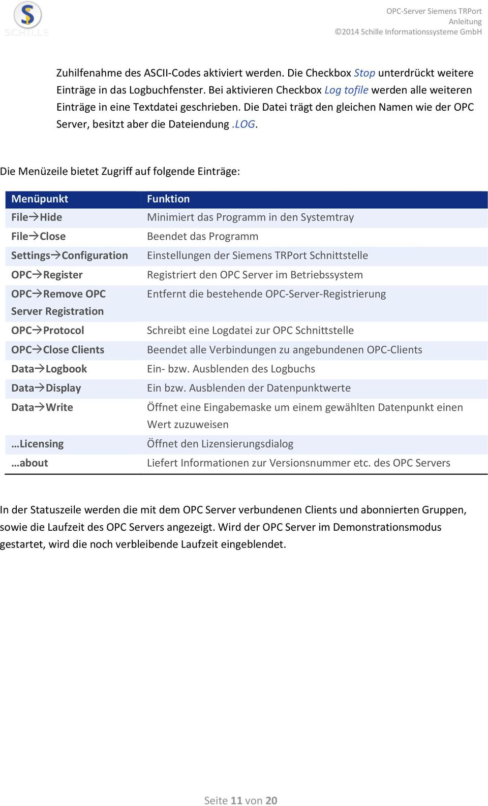 Die Menüzeile bietet Zugriff auf folgende Einträge: Menüpunkt File Hide File Close Settings Configuration OPC Register OPC Remove OPC Server Registration OPC Protocol OPC Close Clients Data Logbook