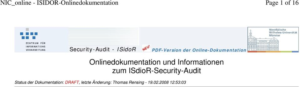 Informationen zum ISdioR-Security-Audit Status der