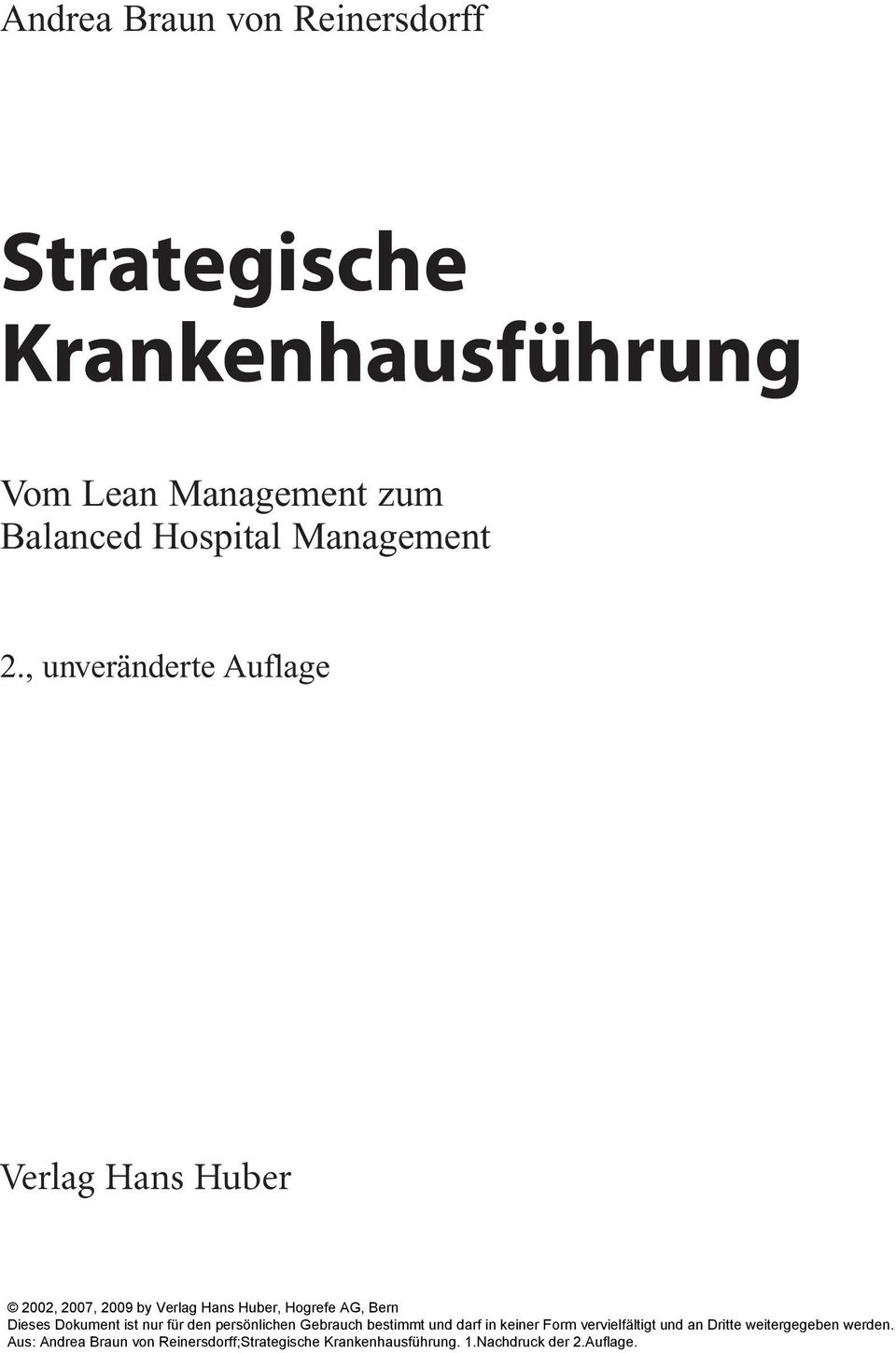 Lean Management zum Balanced Hospital