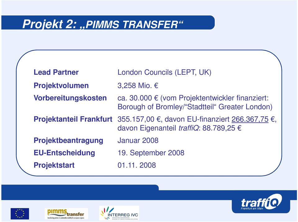 000 (vom Projektentwickler finanziert: Borough of Bromley/ Stadtteil Greater London) Projektanteil