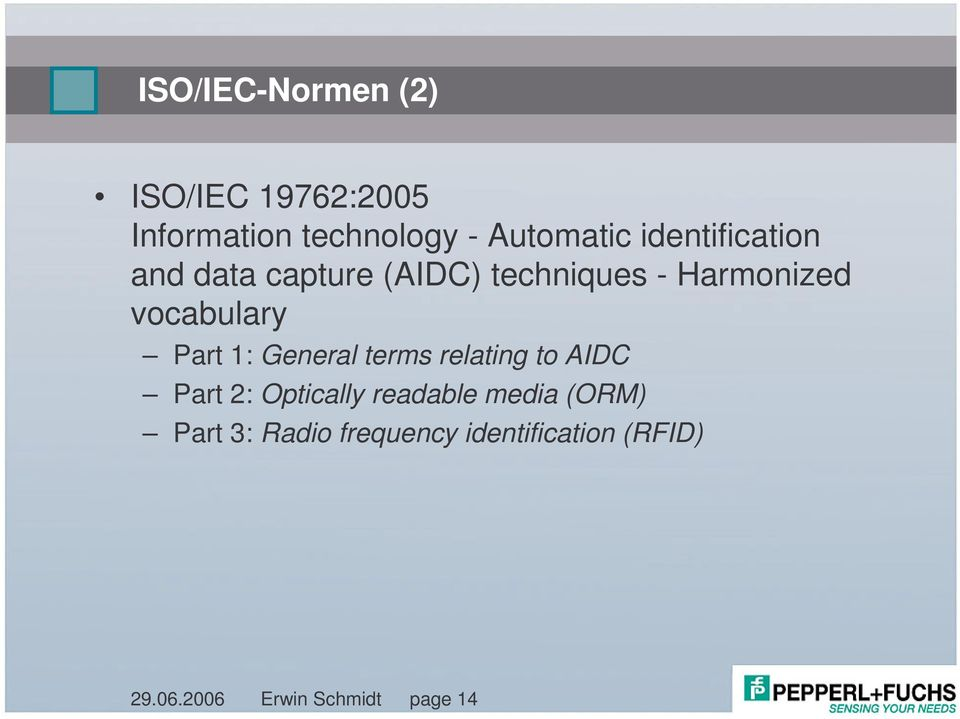 Part 1: General terms relating to AIDC Part 2: Optically readable media