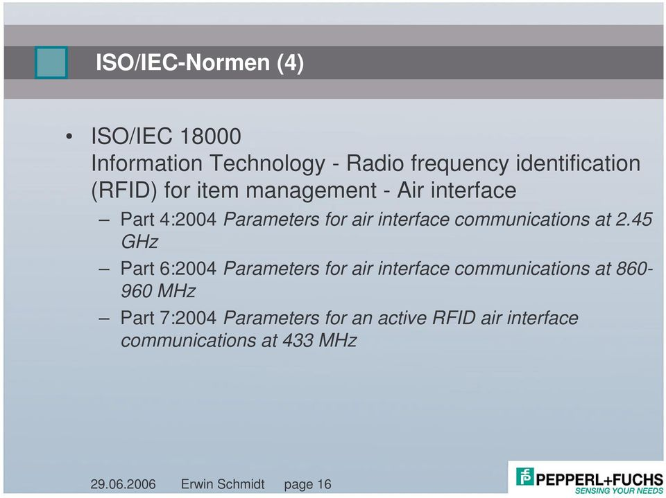 45 GHz Part 6:2004 Parameters for air interface communications at 860-960 MHz Part 7:2004