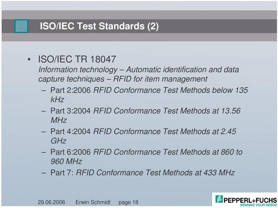 Conformance Test Methods at 13.56 MHz Part 4:2004 RFID Conformance Test Methods at 2.