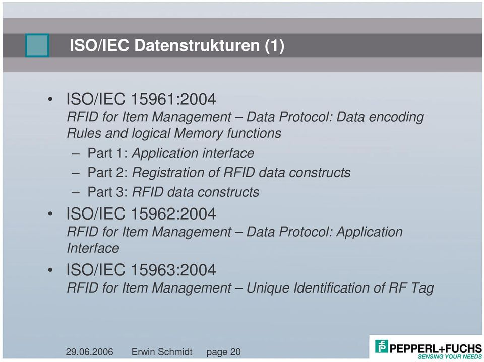 Part 3: RFID data constructs ISO/IEC 15962:2004 RFID for Item Management Data Protocol: Application