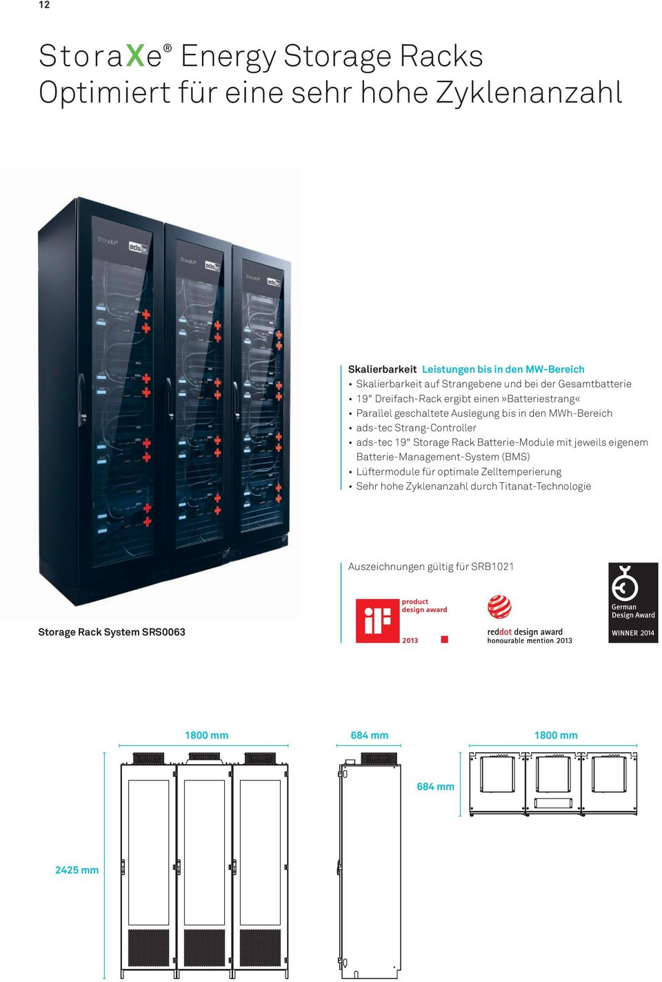 "Strang-Controller ads-tec 19"" Storage Rack Batterie-Module mit jeweils eigenem Batterie-Management-System (BMS) Lüftermodule für optimale"
