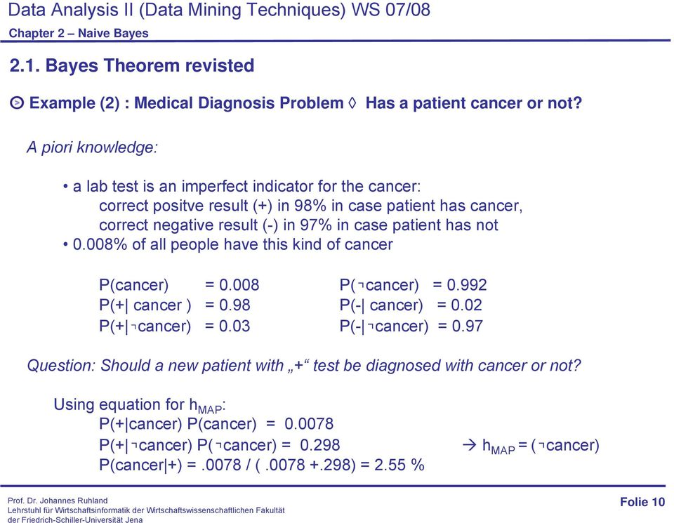 in case patient has not 0.008% of all people have this kind of cancer P(cancer) = 0.008 P( cancer) = 0.992 P(+ cancer ) = 0.98 P(- cancer) = 0.02 P(+ cancer) = 0.