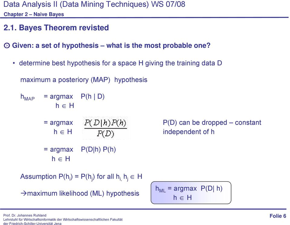 hypothesis h MAP = argmax P(h D) h H = argmax P(D) can be dropped constant h H independent of h =