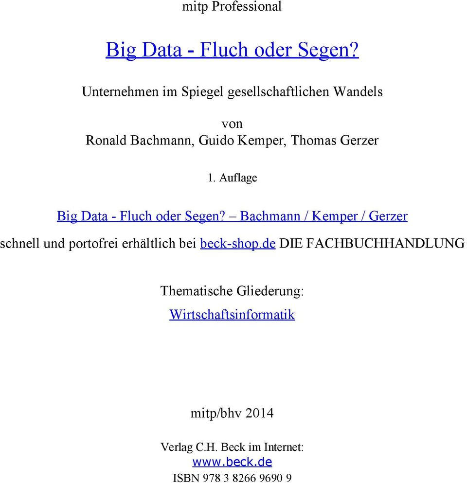 Auflage Big Data - Fluch oder Segen?