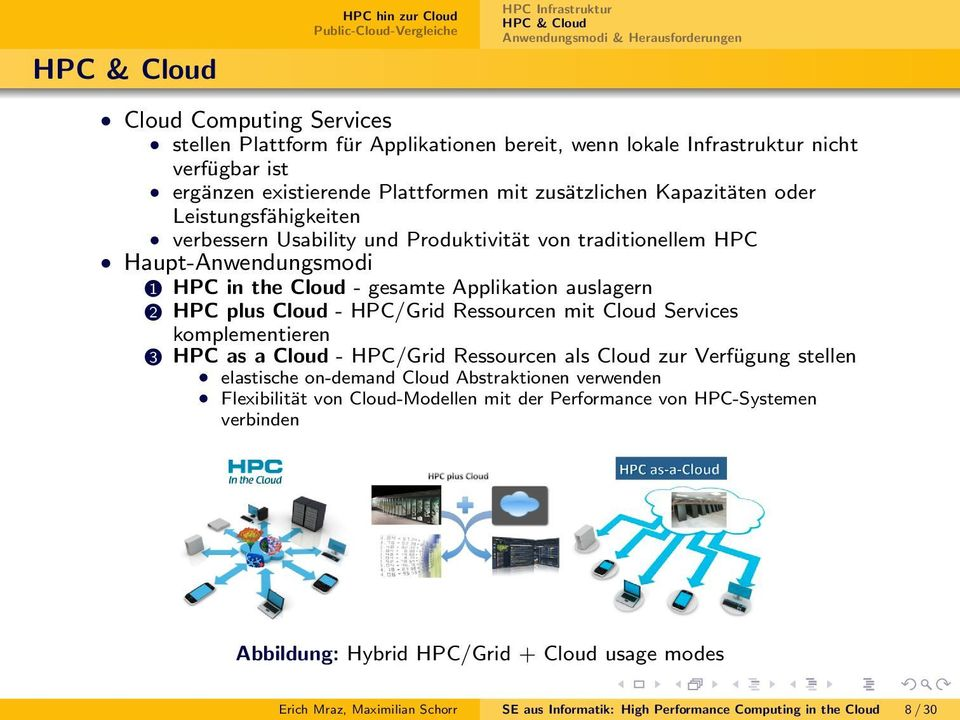Cloud - gesamte Applikation auslagern 2 HPC plus Cloud - HPC/Grid Ressourcen mit Cloud Services komplementieren 3 HPC as a Cloud - HPC/Grid Ressourcen als Cloud zur Verfügung stellen elastische
