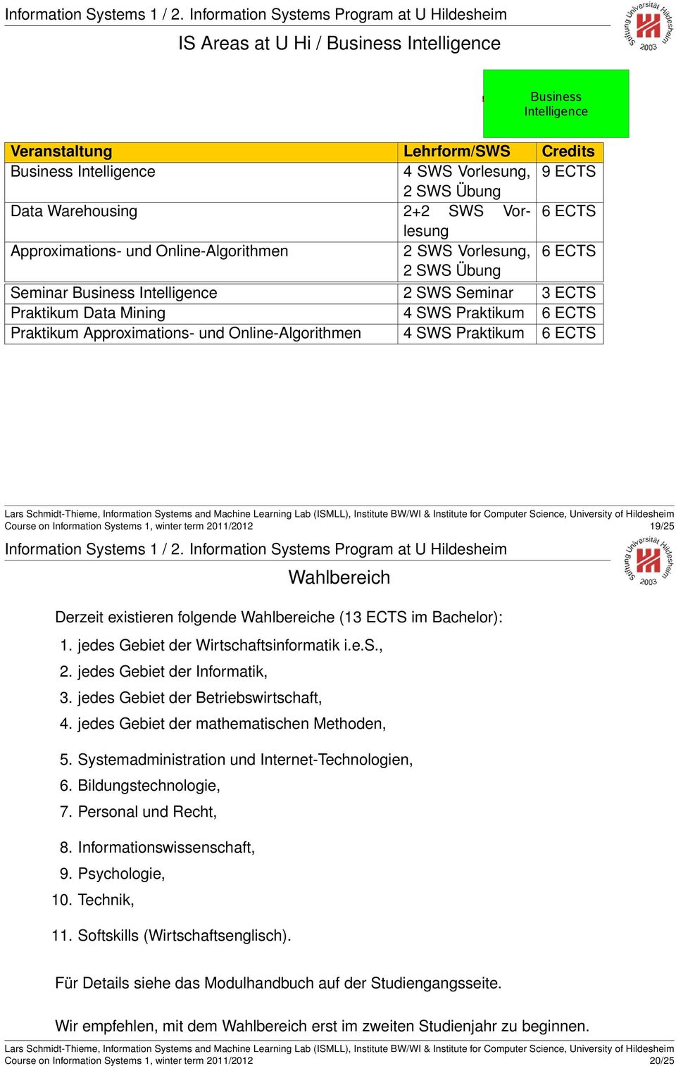 and Decision Support Business Intelligence Veranstaltung Lehrform/SWS Credits Business Intelligence 4 SWS Vorlesung, 9 ECTS 2 SWS Übung Data Warehousing 2+2 SWS Vorlesung 6 ECTS Approximations- und