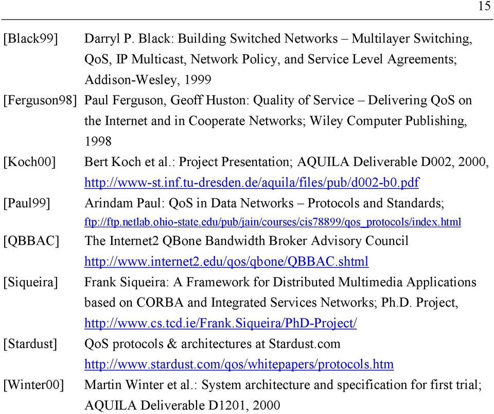 Service Delivering QoS on the Internet and in Cooperate Networks; Wiley Computer Publishing, 1998 [Koch00] Bert Koch et al.: Project Presentation; AQUILA Deliverable D002, 2000, http://www-st.inf.