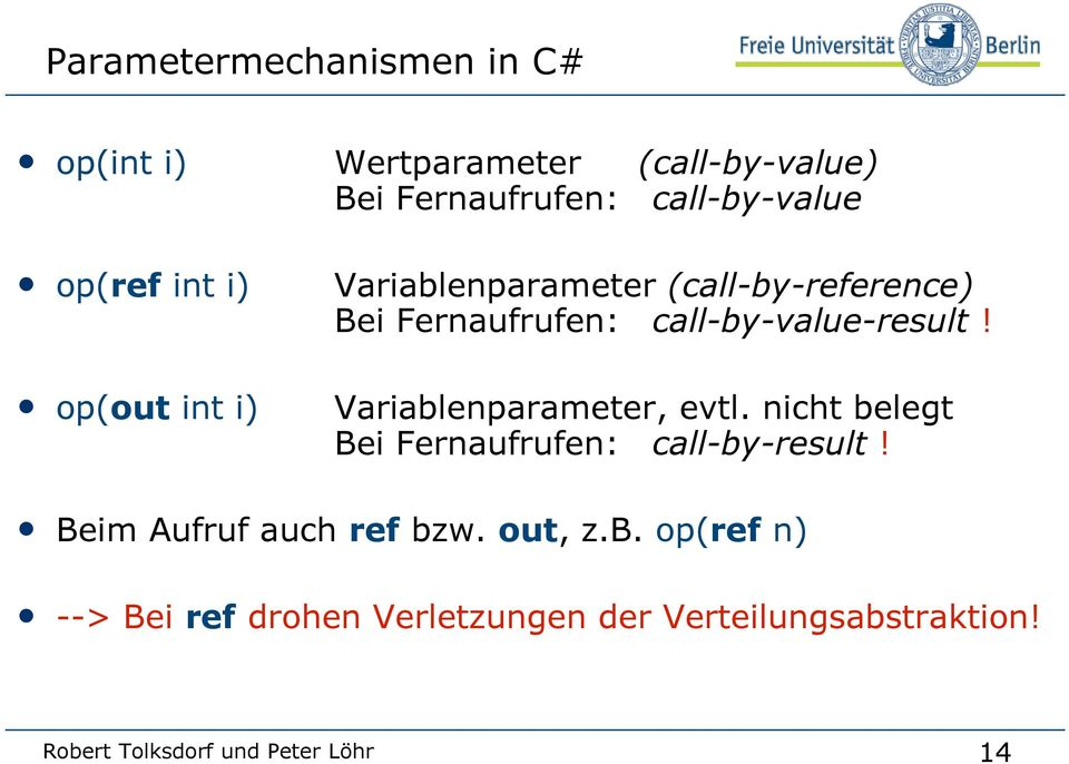 call-by-value-result! Variablenparameter, evtl. nicht belegt Bei Fernaufrufen: call-by-result!