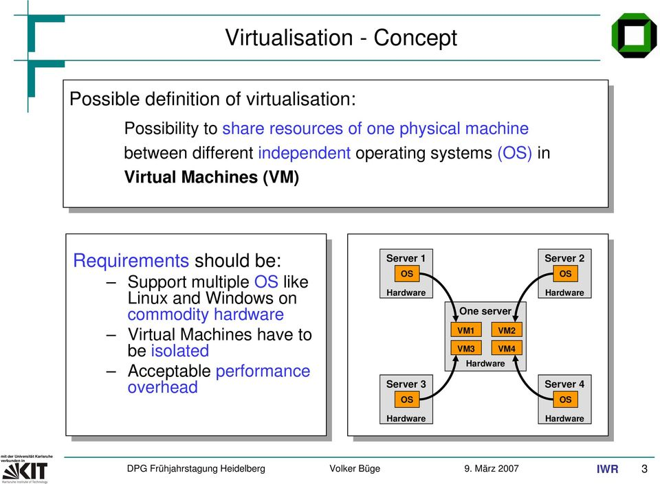 OS like Linux and Windows on commodity hardware Virtual Machines have to be isolated Acceptable performance overhead