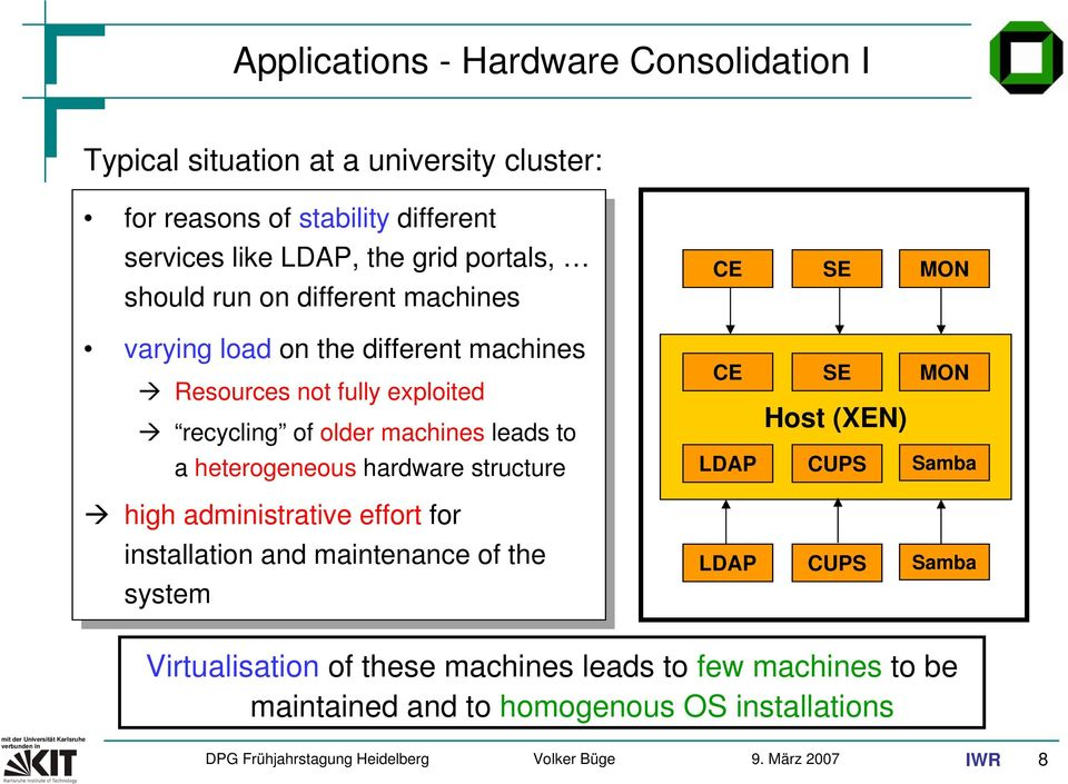 leads to a heterogeneous hardware structure high administrative effort for installation and maintenance of the system CE SE MON CE SE MON Host