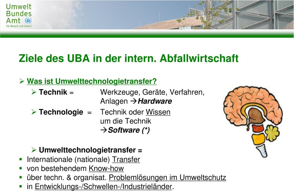 Technik Software (*) Umwelttechnologietransfer = Internationale (nationale) Transfer von