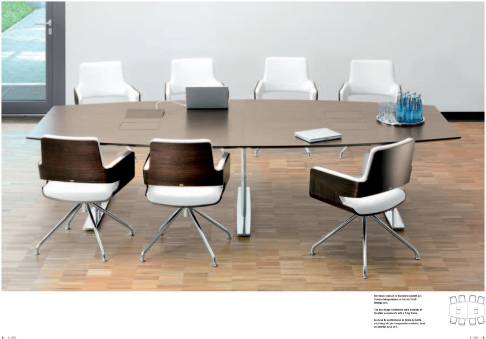 The boat shape conference table consists of standard components with a T-leg