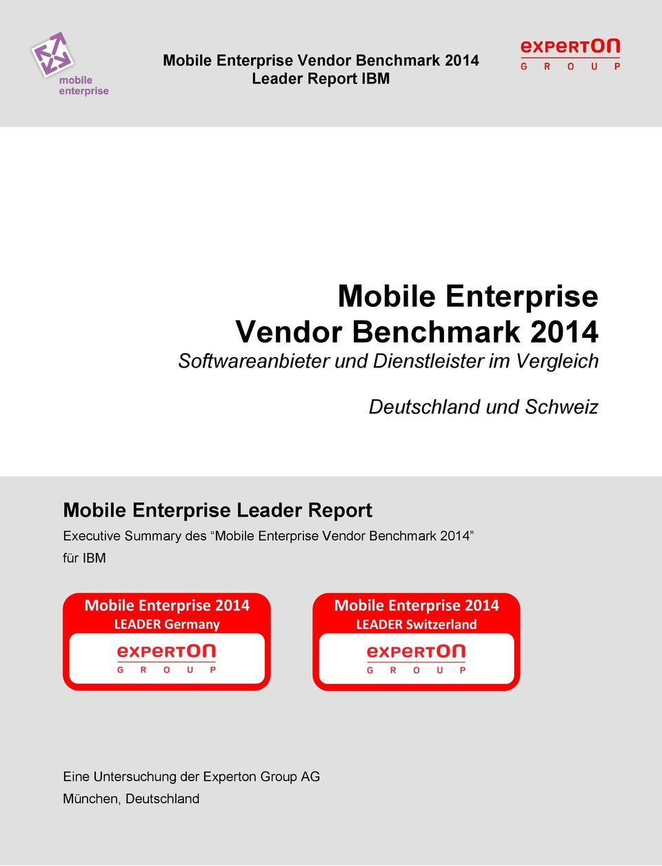 Enterprise Vendor Benchmark 2014 für IBM Mobile Enterprise 2014 LEADER Germany Mobile