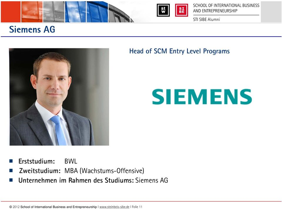 Studiums: Siemens AG 2012 School of International