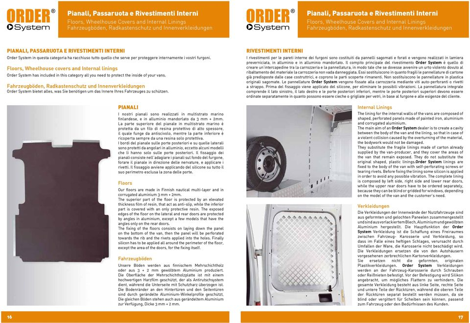 serve per proteggere internamente i vostri furgoni. Floors, Wheelhouse covers and Internal linings Order System has included in this category all you need to protect the inside of your vans.