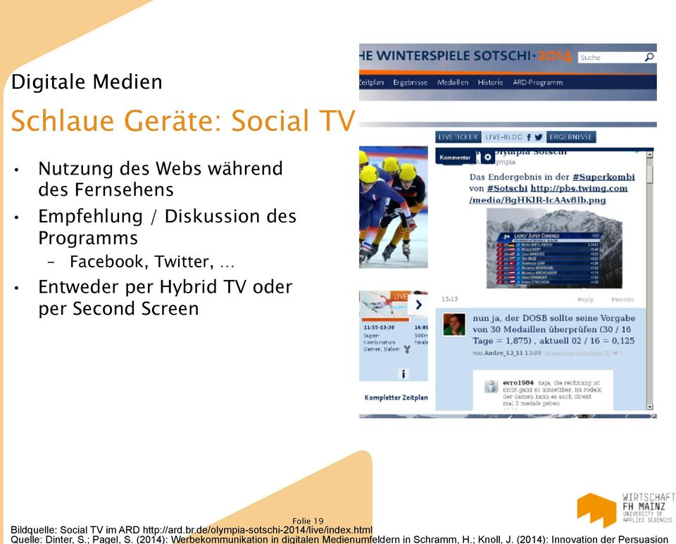 Social TV im ARD http://ard.br.de/olympia-sotschi-2014/live/index.html Quelle: Dinter, S.; Pagel, S.