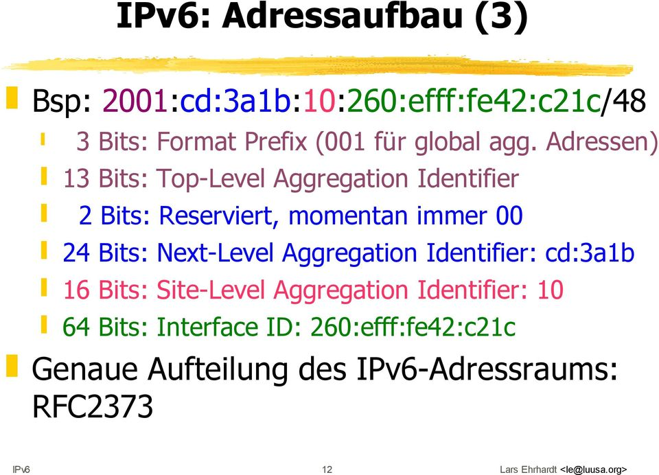 Next-Level Aggregation Identifier: cd:3a1b 16 Bits: Site-Level Aggregation Identifier: 10 64 Bits: