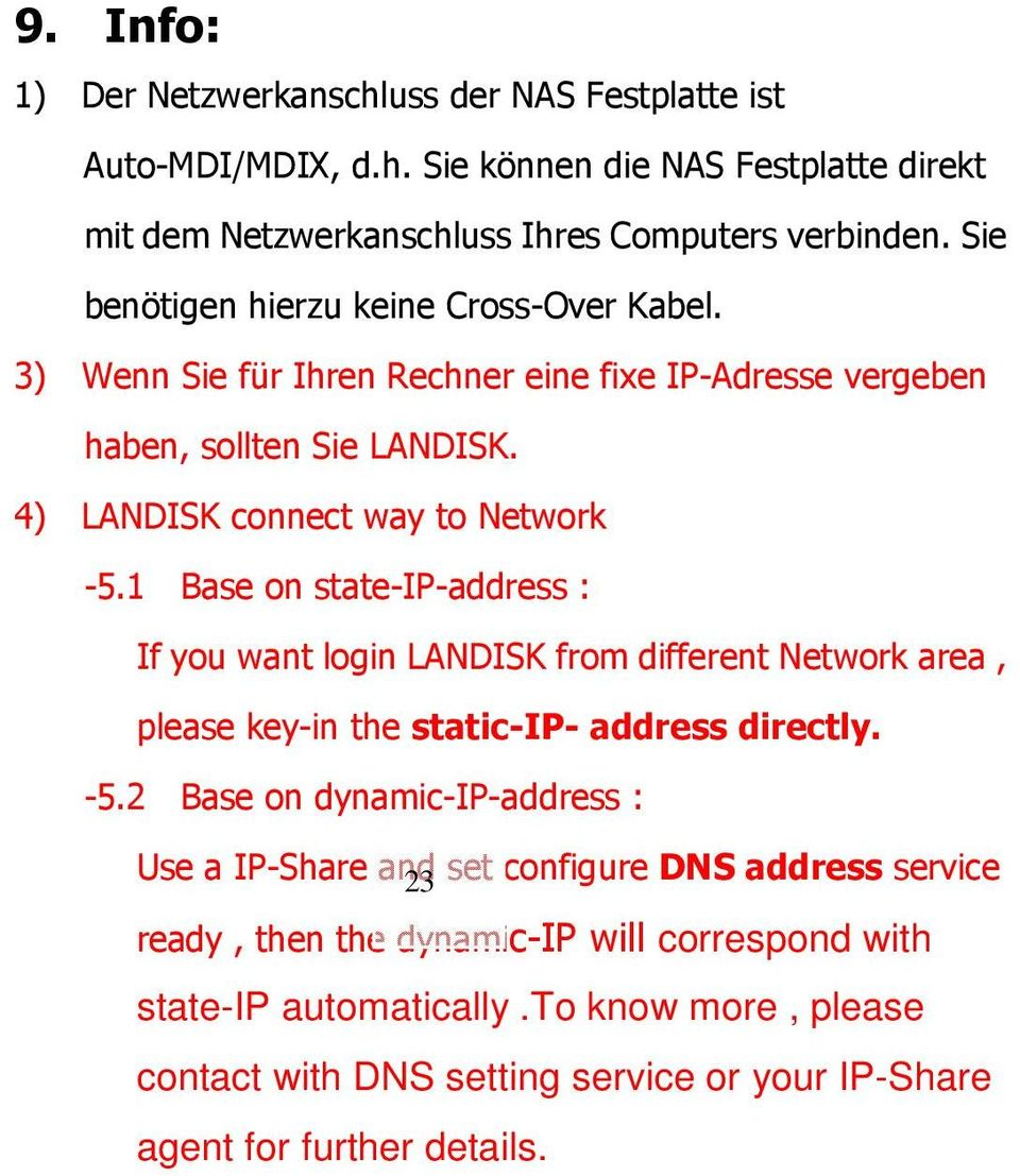 1 Base on state-ip-address : If you want login LANDISK from different Network area, please key-in the static-ip- address directly. -5.
