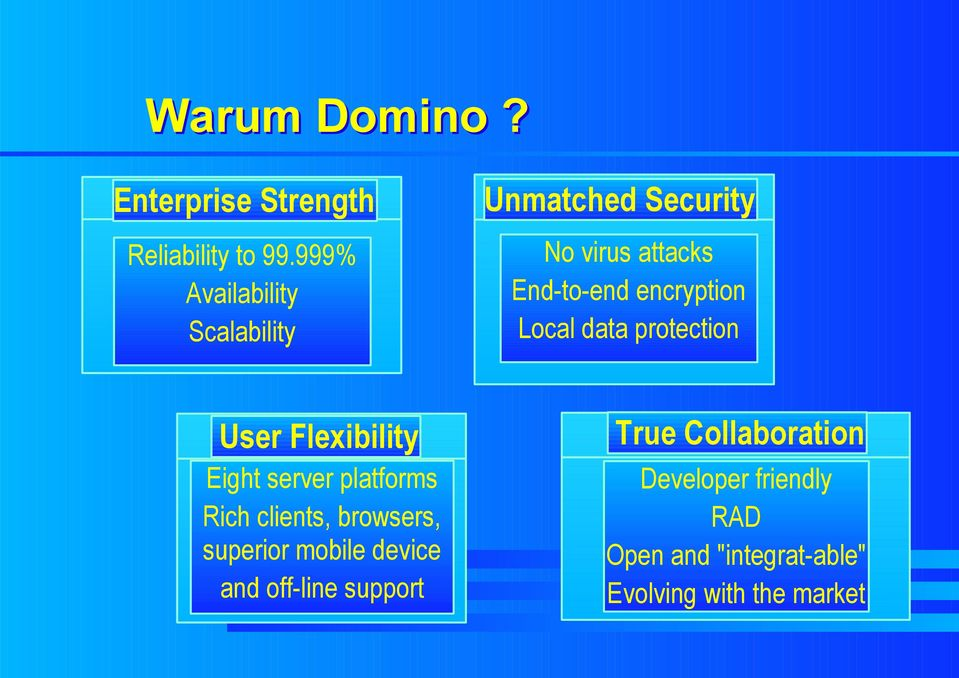 Local data protection User Flexibility Eight server platforms Rich clients, browsers,